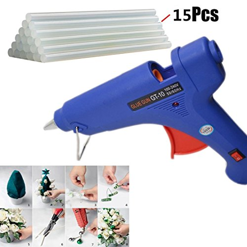 Hot Glue Gun, 100 Watt Hot Melt Glue Gun with 15PCS Transparent Glue Gun Sticks for Arts & Crafts, & Sealing and Quick Repairs,Blue by YEKELLA