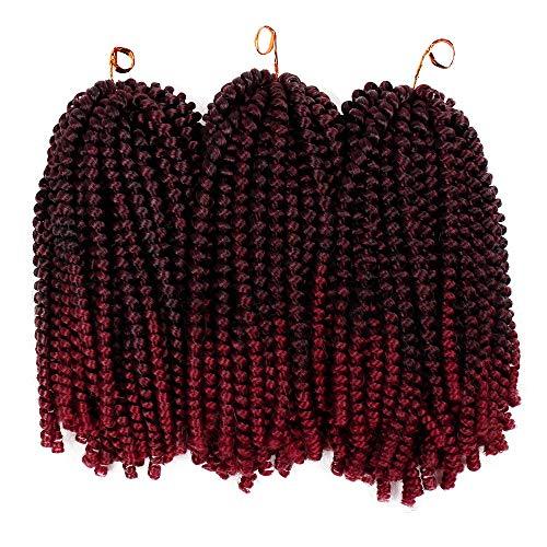 3Pack Spring Twist Crochet Braids Ombre Color Spring Braiding Hair Synthetic Kanekalon Twist Crochet Hair Extensions (1B-BUG#) ()