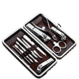 Tseoa Manicure, Pedicure Kit, Nail Clippers, Professional Grooming Kit, Nail Tools with Luxurious Travel Case, Set of 12