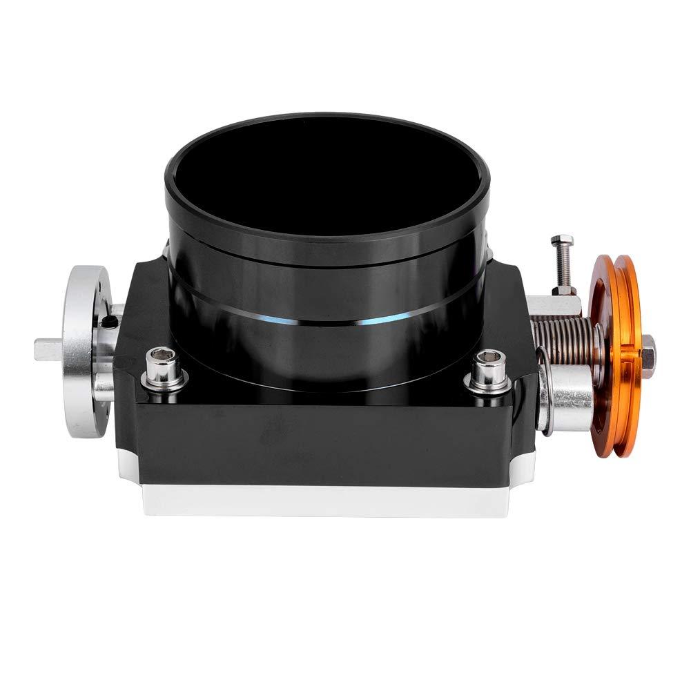 Universal Throttle Body 100mm Chrome Throttle Body Performance Intake Manifold Billet Aluminum High Flow CNC Air Engine Valve for General Mechanical Throttle(Black)