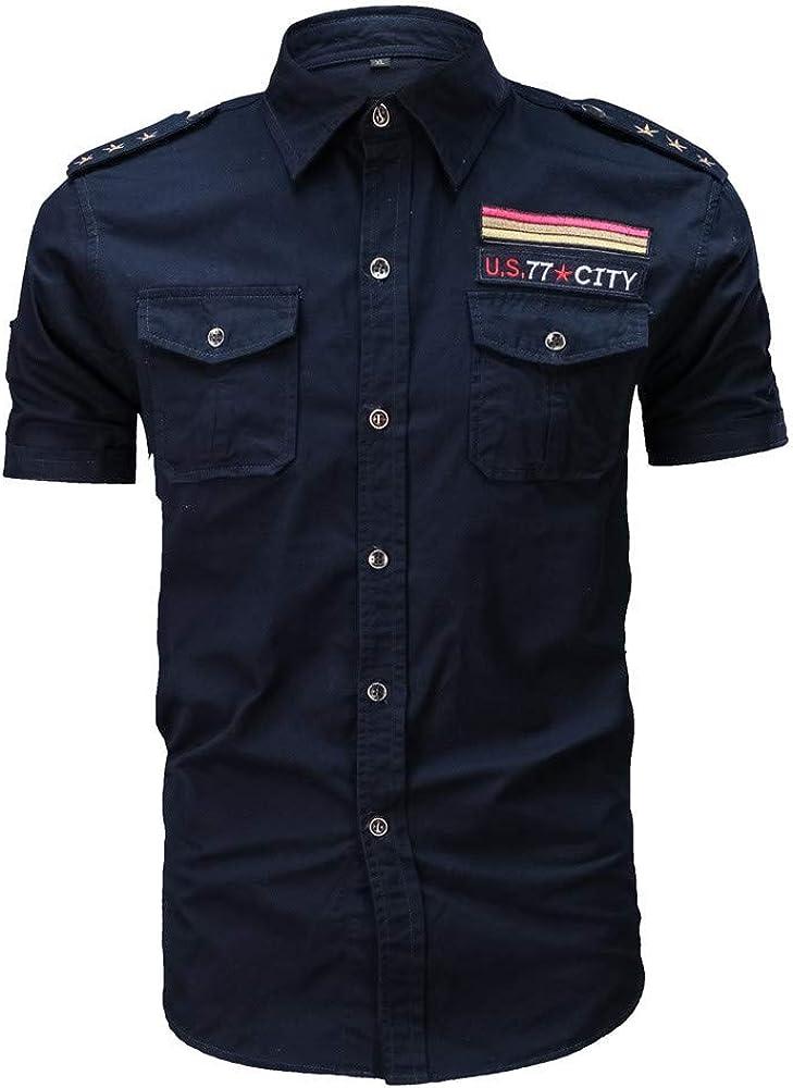 JINSHI Hombre Camisa Casual de Estilo Militar Chaqueta Leñador de Manga Corta 100% Algodón: Amazon.es: Ropa y accesorios