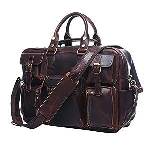 UNIWALKER Vintage Genuine Leather Overnight Travel Duffel Bags Tote Handbag (Red chocolate)
