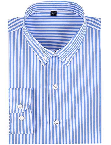 DOKKIA Men's Casual Long Sleeve Vertical Striped Slim Fit Dress Shirts (Light Blue White, -