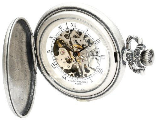 Plated Watch Mechanical Pocket (Charles-Hubert, Paris 3921 Classic Collection Antique Silver Plated Brass Mechanical Pocket Watch)