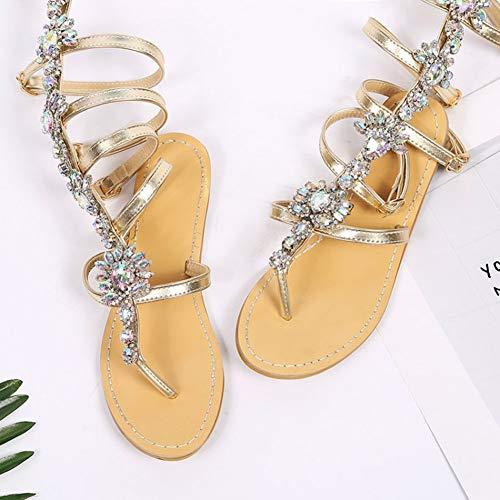Sandalias Mujeres 35 Étnico Cruz La Zapatos Más Las Rhinestone De top Talla Alta Planos Gold Planas 46 Correa Bohemio Verano vTwpqOS