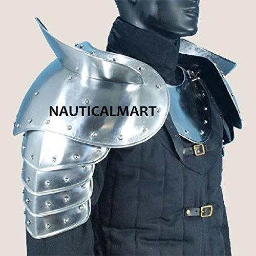 Medieval Merc Pauldrons - 18 Gauge Steel Shoulder Armour Silver One Size by NAUTICALMART