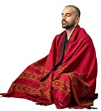 Meditation Shawl by Om Shanti Crafts   Prayer Shawl, Buddha Blanket, Oversize Scarf Wool Wrap to Strengthen Your Daily Meditation, Unisex (Extra Large 7.5'x3.5') (Red)