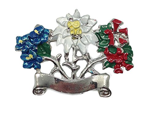 German Hat Pin: Alpine Flowers and Boot