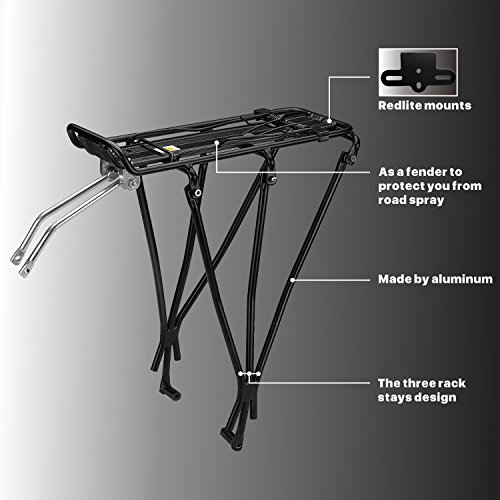 Flexzion Bike Rear Rack Mount - Bicycle Back Seat Pannier Luggage Backpack Cargo Basket Carrier with Taillight Mount Lightweight Aluminum for Road MTB Mountain Folding Bike 55 lbs Capacity by Flexzion (Image #4)