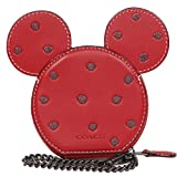 COACH X DISNEY Mickey Mouse Ears Glove Leather Limited Edition Coin Case (Red)