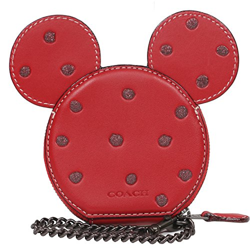 COACH X DISNEY Mickey Mouse Ears Glove Leather Limited Edition Coin Case (Red) by Coach