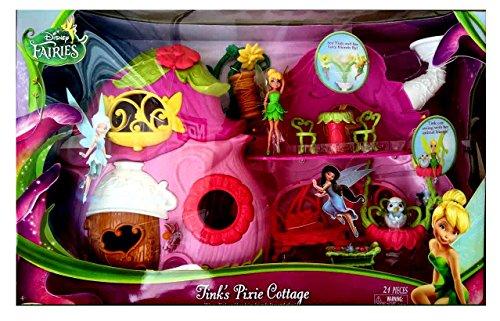 NEW! Disney Fairies Tinkerbell Tinks Pixie Cottage Toy House Playset PLUS FREE Bonus bundle!! (Pixie Hollow Create A Fairy And Fly)
