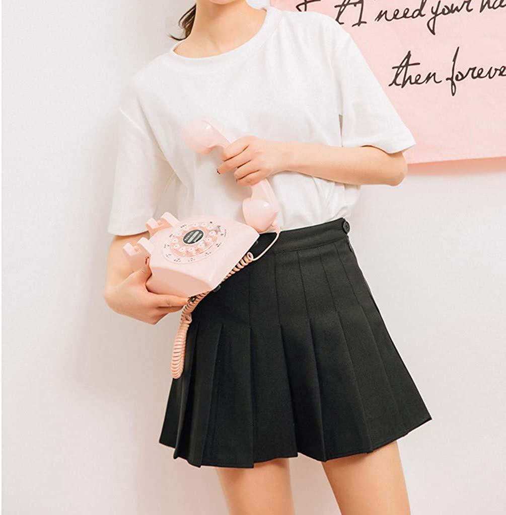 Auifor Women Casual Skirts Simple Sweet High Waist Slim Tennis Skirt Daily Outdoor Dress Black