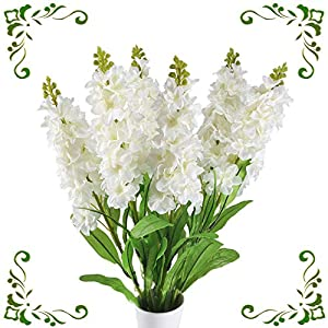 "MHMJON 6pcs 33"" Slik Matthiola incana Branches Artificial Fake Flowers Arrangenment Indoor Outdoor Home Kitchen Office DIY Hotel Table Centerpieces Decor White 110"