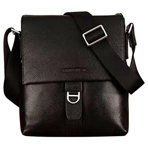 HRLONSI 2017 Most Popular Men's top Genuine Leather Zipper single shoulder Business handBag (black)