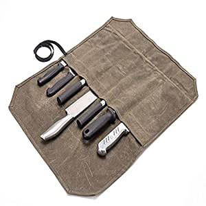 QEES - Bolsa para Cuchillos de Chef (7 Compartimentos), Color Caqui