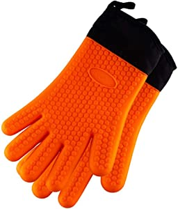 Blackstone 3019 Silicone Gloves (Pair) with Fingers Heat Resistant, Waterproof, Food Grade BBQ Mitts for Grill, Smoker, Unisex, Orange