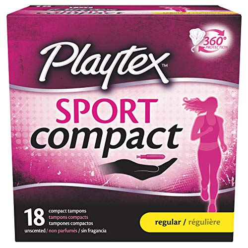 Playtex Sport Regular Absorbency Compact Tampons with Flex-Fit Technology and Improved Applicator, 18 Count