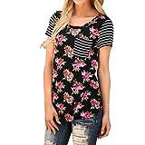 Blackobe Women Short Sleeve Tops Flower Printed Blouse Casual Striped T Shirt (S, Black) offers