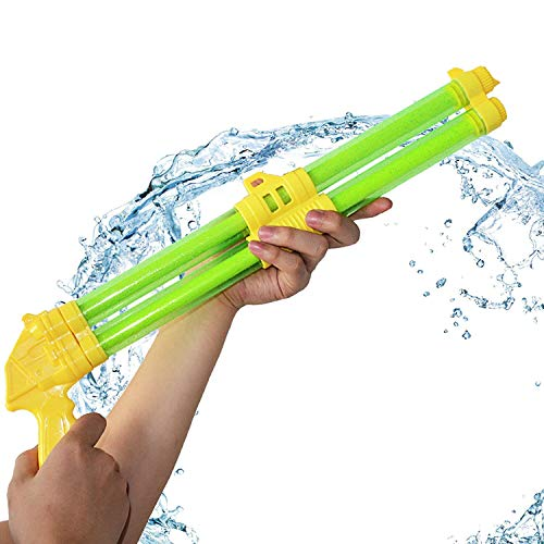 (Whiteleopard Double-Barrelled Water Gun Squirt Guns Super Soaker Tube Blaster Pump Squirter for Beach Swimming Pool Party (Green))