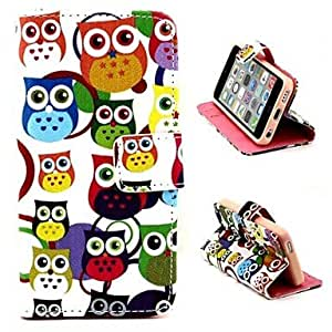 YXF Cartoon Owls Pattern PU Leather Full Body Case with Stand and Money Holder for iPhone 5C
