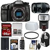 Sony Alpha A68 Digital SLR Camera Body 70-300mm Lens + 64GB Card + Battery + Backpack + Flash + Filter + Kit