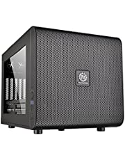 Thermaltake Core V21 Matx Mesh Stackable cube Case with 200mm Fan, rotatable , 13.2 x 12.6 x 16.7 inch, Black