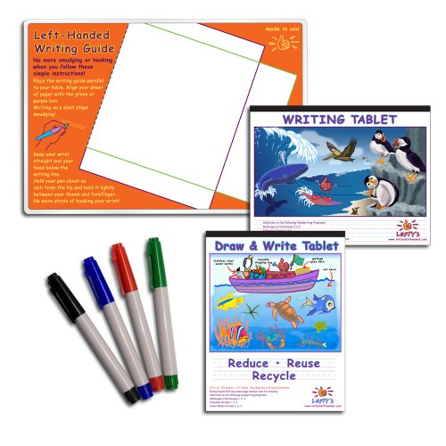 (Lefty's Left Handed Writing Guide Instructional Set (Mat, Tablets and Marking Pens), 7 Pcs)