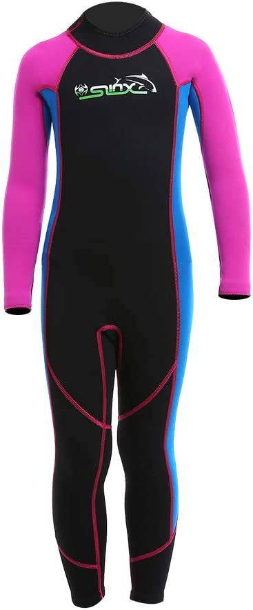 Wetsuit Kids 2mm Neoprene Warm Full Long Sleeve Thermal Swimsuit Youth Boy's and Girl's One Piece Wet Suits for Scuba Diving Swimming