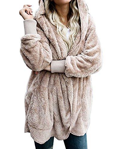 Sintetico Moda Invierno Elegantes De Abrigos Sólido Vintage Con Capucha Larga Coat Outerwear Color Cárdigans Chaquetas Mujer Casual Otoño Peludo Pelo Manga Khaki Anchas nwg0UfxqW