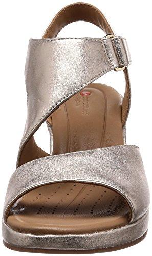 Oro Clarks De Un Sandalias Metallic Mujer 26133487 Gold Plaza p618nq