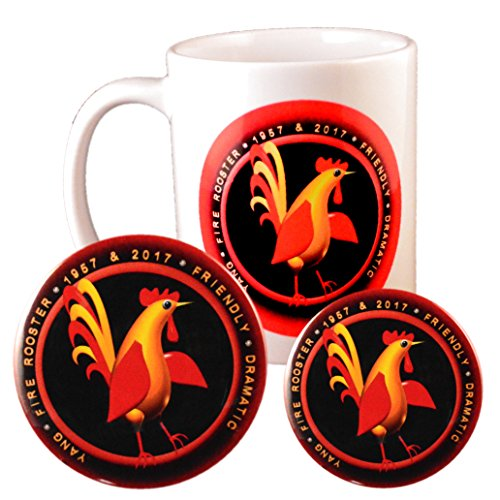 Born 2017 Chinese Zodiac Year Fire Rooster Coffee Cup + Magnet + Pin Back Button -
