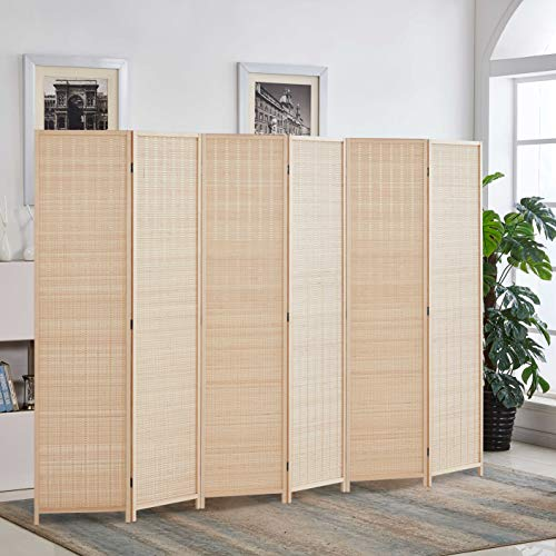 Rose Home Fashion 6 ft. Tall-Extra Wide, Bamboo Room Divider, 6 Panel Room Divider/Screen, Folding Privacy Screen Room Divider, Wall Divider,Room Partitions/Separator/Dividers-Bamboo - 6 Panel