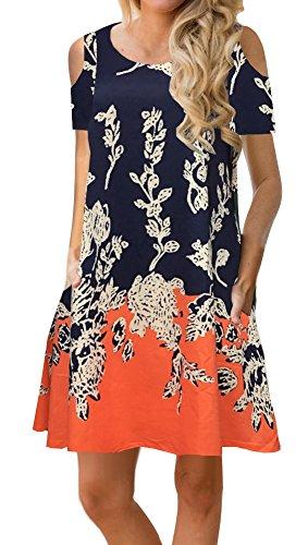 ETCYY Women's Cold Shoulder Casual Sundress T-Shirt Dress for Summer with Pockets Orange