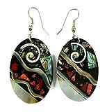 Handmade 2'' Paua Abalone Shell Shiva Eye Red Coral Oval Dangle earrings ; DA117