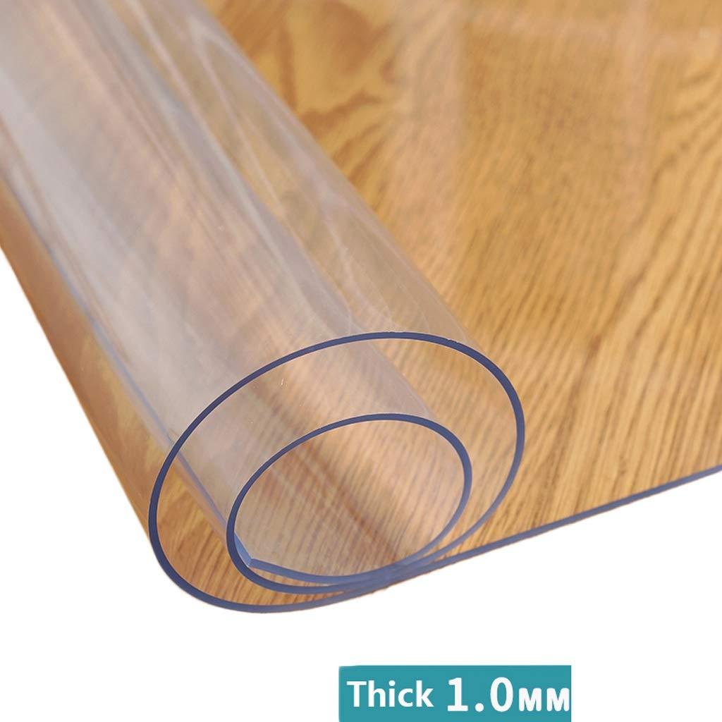 Transparent 1.0mm 90×160cm Tapis de table en plastique transparent cristal épais for table de nuit en bout de table multi-taille (Couleur   Transparent 1.0mm, Taille   90×160cm)