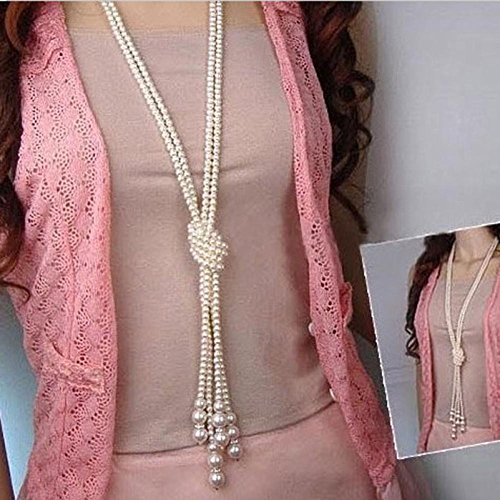 Fheaven 124cm long Knotted pearl necklace women fashion chain girl (Swarovski Crystal 10mm Hearts Charms)