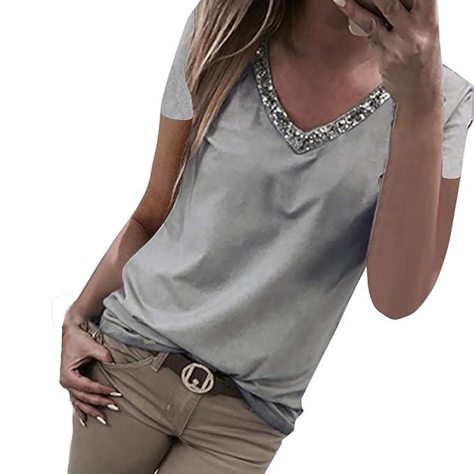 Camisetas Mujer Camisa Mujer Manga Corta Color sólido