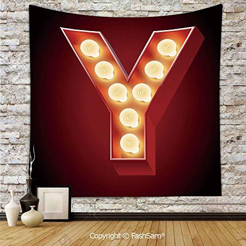 FashSam Tapestry Wall Hanging Casino Nightclub Inspired Alphabet Typography Entertainment Retro Y Tapestries Dorm Living Room Bedroom(W51xL59) -
