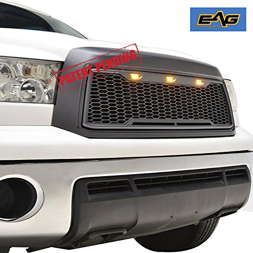 EAG Replacement Upper Grille Front Grill with Amber LED Lights for 10-13 Toyota Tundra - Charcoal ()