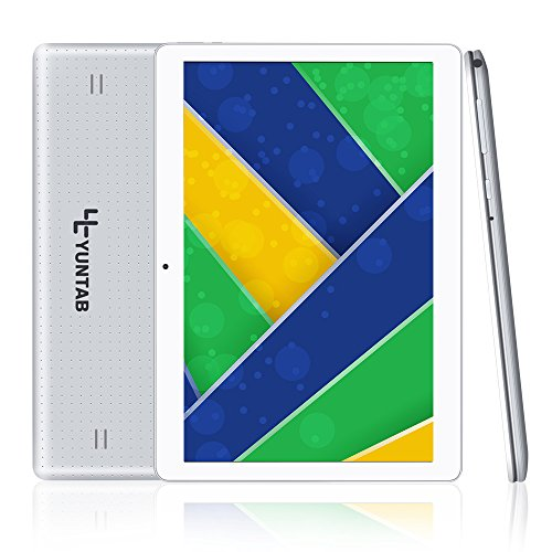 Yuntab 10.1 inch Tablet Android 5.1 Wifi Unlocked 3G Phone Tablet PC 1GB+16GB MTK 6580 Quad-Core IPS Screen 1280x800 Dual camera Cell phone Support 2G 3G Wifi Dual SIM Card Bluetooth (Silver)