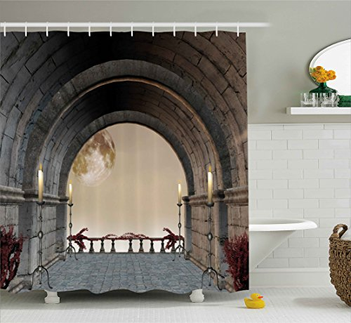 Ambesonne Gothic Decor Shower Curtain, Middle Age Balcony of Stone Castle with Candles Renaissance Inspired Vintage Design, Fabric Bathroom Decor Set with Hooks, 70 Inches, Grey