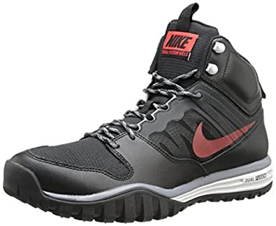 Men's Nike Dual Fusion Hills Mid Boot Black/Cool Grey/Light Ash Grey/Challenge Red Size 12.5 M US