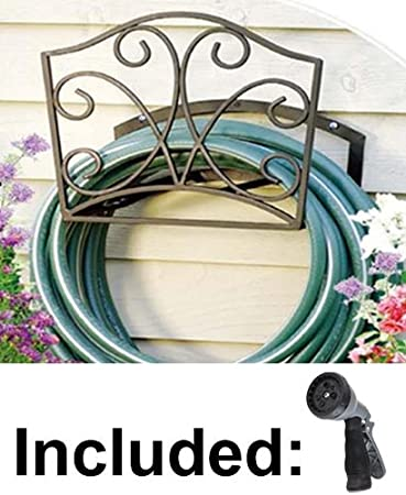 Garden Hose Holder   Decorative Bronze Metal Wall Mount Hanger Rack  Including Spray Nozzle