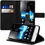 kwmobile Elegant synthetic leather case for the Sony Xperia S LT26i with magnetic fastener and stand function in black
