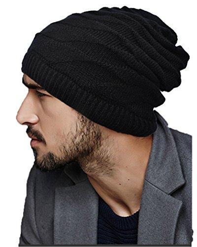 Ellewin Unisex Slouch Beanie Knit Skull Cap Hat Loop Scarf Rectangular Neckerchief (Cotton Reversible Headband)