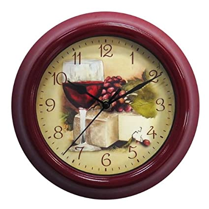 Amazon Com Geneva Clock Company 9 Wine Theme Wall Clock Home Kitchen