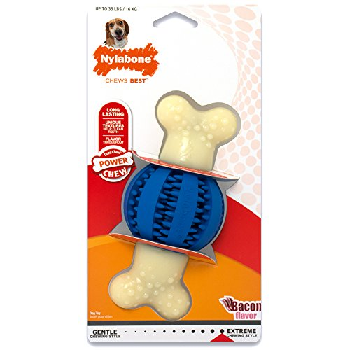 Nylabone Dura Chew Regular Bacon Flavored Double Action Dental Ball and Bone Dog Chew Toy