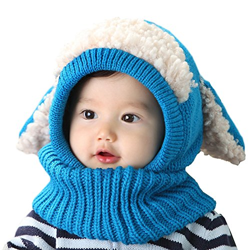 Yimidear Cute Winter Baby Kids Girls Boys Warm Knit Woolen coif Hood Collar Scarf Caps Hats (Blue) (Hood Fz)