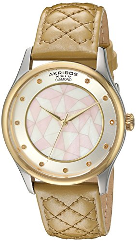 Akribos XXIV Women's Quartz Gold-Tone Case with Genuine Diamond Hour Markers and Mother-of-Pearl Mosaic Dial on Gold Quilted Genuine Leather Strap Watch AK925GLD